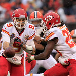 Kansas City Chiefs quarterback Brady Quinn (9) hands the ball off to running back Jamaal Charles (25) during an NFL football game Sunday, Dec. 9, 2012, in Cleveland. (AP Photo/Tony Dejak)