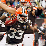 Cleveland Browns running back Trent Richardson (33) celebrates after a 1-yard touchdown run against the Kansas City Chiefs in the third quarter of an NFL football game Sunday, Dec. 9, 2012,  …