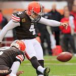 Cleveland Browns place kicker Phil Dawson (4) kicks a 23-yard field goal against the Kansas City Chiefs in the first quarter of an NFL football game Sunday, Dec. 9, 2012, in Cleveland. The f …