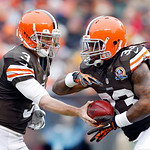 Cleveland Browns quarterback Brandon Weeden (3) handsoff to running back Trent Richardson in the first half of an NFL football game in Cleveland, Sunday, Dec. 9, 2012. (AP Photo/Rick Osentos …
