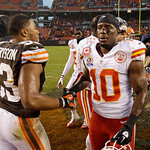 Kansas City Chiefs wide receiver Terrance Copper (10) congratulates Cleveland Browns linebacker Craig Robertson after the Browns' 30-7 win in an NFL football game Sunday, Dec. 9, 2012, in Cl …