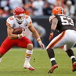 Kansas City Chiefs running back Peyton Hillis (40) runs against Cleveland Browns linebacker Craig Robertson (53) in the second quarter op an NFL football game in Cleveland, Sunday, Dec. 9, 2 …