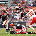 Cleveland Browns running back Trent Richardson (33) leaps over the line on a third quarter run against the Kansas City Chiefs in an NFL football game Sunday, Dec. 9, 2012, in Cleveland. (AP  …