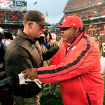 Cleveland Browns head coach Pat Shurmur, left, shakes hands with Kansas City Chiefs head coach Romeo Crennel after the Browns' 30-7 win in an NFL football game, Sunday, Dec. 9, 2012, in Clev …