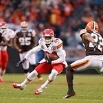 Kansas City Chiefs wide receiver Jamar Newsome (84) changes directions against Cleveland Browns cornerback Buster Skrine (22) in the fourth quarter of an NFL football game in Cleveland, Sund …