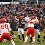 Cleveland Browns quarterback Brandon Weeden (3) passes against the Kansas City Chiefs during an NFL football game Sunday, Dec. 9, 2012, in Cleveland. (AP Photo/Tony Dejak)