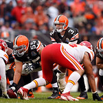 Cleveland Browns quarterback Brandon Weeden (3) calls signals at the line in the second half of an NFL football game against the Kansas City Chiefs in Cleveland, Sunday, Dec. 9, 2012. (AP Ph …