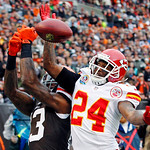 Kansas City Chiefs cornerback Brandon Flowers (24) breaks up a pass in the end zone intended for Cleveland Browns wide receiver Josh Gordon in the first quarter of an NFL football game, Sund …