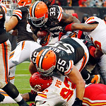 Cleveland Browns running back Trent Richardson (33) scores on a 1-yard touchdown carry in the fourth quarter of an NFL football game against the Kansas City Chiefs, Sunday, Dec. 9, 2012, in  …
