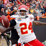 Kansas City Chiefs cornerback Brandon Flowers (24) breaks up a pass in the end zone for Cleveland Browns wide receiver Josh Gordon in the first quarter of an NFL football game Sunday, Dec. 9 …