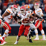 Kansas City Chiefs running back Jamaal Charles (25) breaks through the Cleveland Browns defense in the fourth quarter of an NFL football game in Cleveland, Sunday, Dec. 9, 2012. Charles ran  …