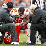 Kansas City Chiefs wide receiver Dwayne Bowe (82) is attended to on the field in the second quarter of an NFL football game against the Cleveland Browns in Cleveland, Sunday, Dec. 9, 2012. ( …