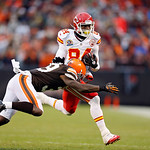 Kansas City Chiefs wide receiver Jamar Newsome (84) is tackled by Cleveland Browns cornerback Tashaun Gipson in the fourth quarter of an NFL football game in Cleveland, Sunday, Dec. 9, 2012. …