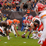 The Cleveland Browns and the Kansas City Chiefs line up on the line of scrimmage during an NFL football game Sunday, Dec. 9, 2012, in Cleveland. (AP Photo/Tony Dejak)