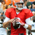 Browns' quarterback Brian Hoyer drops back to pass pass during the Browns' scrimmage game. KRISTIN BAUER | CHRONICLE