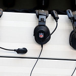 NFL headsets hang on the Cleveland Browns bench during the first half of an NFL football game against the Dallas Cowboys Sunday, Nov. 18, 2012 in Arlington, Texas. (AP Photo/Sharon Ellman)