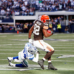 Cleveland Browns tight end Benjamin Watson (82) battles Dallas Cowboys cornerback Morris Claiborne (24) for room during the second half of an NFL football game Sunday, Nov. 18, 2012 in Arlin …