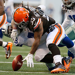 Dallas Cowboys free safety Gerald Sensabaugh (43) forces Cleveland Browns running back Trent Richardson (33) to fumble the ball during the second half of an NFL football game Sunday, Nov. 18 …