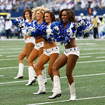 Dallas Cowboys cheerleaders perform before the start of the first half of an NFL football game against the Cleveland Browns Sunday, Nov. 18, 2012 in Arlington, Texas. (AP Photo/Sharon Ellman …