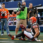 Cleveland Browns tight end Jordan Cameron (84) is forced out of bounds on a play during the second half of an NFL football game against the Dallas Cowboys Sunday, Nov. 18, 2012 in Arlington, …