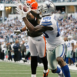 Cleveland Browns cornerback Sheldon Brown (24) is unable to block a pass for Dallas Cowboys wide receiver Dez Bryant (88) during the second half of an NFL football game Sunday, Nov. 18, 2012 …