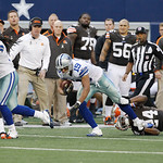 Cleveland Browns cornerback Sheldon Brown (24) tries to bring down Dallas Cowboys wide receiver Miles Austin (19)  during the second half of an NFL football game Sunday, Nov. 18, 2012 in Arl …