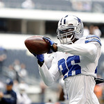 Dallas Cowboys strong safety Charlie Peprah (26) catches a pass during warmups before the start of the first half of an NFL football game against the Cleveland Browns Sunday, Nov. 18, 2012 i …