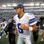 Dallas Cowboys quarterback Tony Romo (9) leaves the field after overtime of an NFL football game against the Cleveland Browns Sunday, Nov. 18, 2012 in Arlington, Texas. (AP Photo/Brandon Wad …