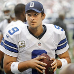 Dallas Cowboys quarterback Tony Romo (9) looks on from the sidelines during the first half of an NFL football game against the Cleveland Browns Sunday, Nov. 18, 2012 in Arlington, Texas. (AP …
