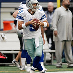 Dallas Cowboys quarterback Tony Romo (9) warms up before the start of the first half of an NFL football game against the Cleveland Browns Sunday, Nov. 18, 2012 in Arlington, Texas. (AP Photo …