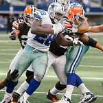 Dallas Cowboys running back Felix Jones (28) looks for room against the Cleveland Browns defense during the second half of an NFL football game Sunday, Nov. 18, 2012 in Arlington, Texas. (AP …