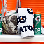 Gatorade bottles and towels are seen on the Cleveland Browns sidelines during the first half of an NFL football game against the Dallas Cowboys Sunday, Nov. 18, 2012 in Arlington, Texas. (AP …