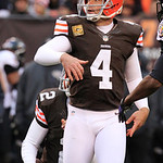 Cleveland Browns place kicker Phil Dawson watches his 33-yard field goal split the uprights in the third quarter of an NFL football game against the Baltimore Ravens, Sunday, Nov. 4, 2012, i …