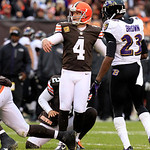 Cleveland Browns kicker Phil Dawson (4) watches the ball after kicking a field goal in an NFL football game against the Baltimore Ravens Sunday, Nov. 4, 2012, in Cleveland. (AP Photo/Tony De …