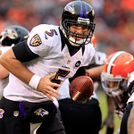 Baltimore Ravens quarterback Joe Flacco (5) looks for a teammate during an NFL football game against the Baltimore Ravens Sunday, Nov. 4, 2012, in Cleveland. (AP Photo/Tony Dejak)
