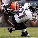 Baltimore Ravens running back Ray Rice (27) is tackled by Cleveland Browns cornerback Johnson Bademosi (37) in the second half of an NFL football game in Cleveland, Sunday, Nov. 4, 2012. (AP …