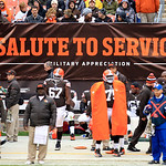 "The NFL ""Salute to Service"" sign is shown during  an NFL football game between the Cleveland Browns and the Baltimore Ravens Sunday, Nov. 4, 2012, in Cleveland. (AP Photo/Tony Dejak)"