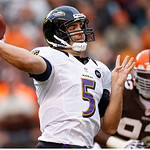 Baltimore Ravens quarterback Joe Flacco (5) passes against the Cleveland Browns in the fourth quarter of an NFL football game in Cleveland, Sunday, Nov. 4, 2012. (AP Photo/Rick Osentoski)