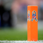 "A special decal denoting the league's ""Salute to Service"" is shown on the goal line pylon before an NFL football game between the Cleveland Browns and the Baltimore Ravens Sunday, Nov. 4, 20 …"