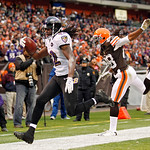 Baltimore Ravens wide receiver Torrey Smith (82) beats Cleveland Browns safety Usama Young to the goal line on a 19-tard touchdown catch in the fourth quarter of an NFL football game in Clev …