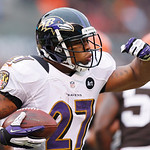 Baltimore Ravens running back Ray Rice celebrates after an 8-yard touchdown run against the Cleveland Browns in the first quarter of an NFL football game in Cleveland, Sunday, Nov. 4, 2012.  …