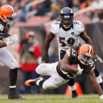 Cleveland Browns running back Trent Richardson (33) dives for extra yards in the third quarter of an NFL football game against the Baltimore Ravens in Cleveland, Sunday, Nov. 4, 2012. (AP Ph …