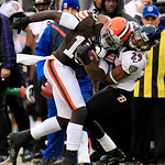 Baltimore Ravens cornerback Cary Williams (29) tackles Cleveland Browns wide receiver Josh Gordon (13) during an NFL football game Sunday, Nov. 4, 2012, in Cleveland. (AP Photo/Tony Dejak)