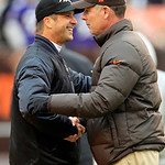 Baltimore Ravens head coach John Harbaugh, left, greets Cleveland Browns head coach Pat Shurmur before an NFL football game Sunday, Nov. 4, 2012, in Cleveland. (AP Photo/Tony Dejak)