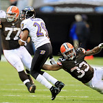 Cleveland Browns running back Trent Richardson (33) misses a tackle on Baltimore Ravens cornerback Cary Williams (29) after an interception by Williams in the third quarter of an NFL footbal …