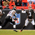 Cleveland Browns quarterback Brandon Weeden (3) throws during an NFL football game against the Baltimore Ravens Sunday, Nov. 4, 2012, in Cleveland. (AP Photo/Tony Dejak)