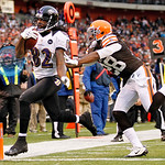 Baltimore Ravens wide receiver Torrey Smith (82) beats Cleveland Browns safety Usama Young to the goal line on a 19-yard touchdown catch in the fourth quarter of an NFL football game in Clev …