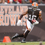 Cleveland Browns wide receiver Josh Cribbs (16) runs the ball against the Baltimore Ravens in the second half of an NFL football game in Cleveland, Sunday, Nov. 4, 2012. (AP Photo/Rick Osent …