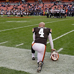 Cleveland Browns placekicker Phil Dawson watches the final seconds of a 25-15 loss to the Baltimore Ravens in an NFL football game on Sunday, Nov. 4, 2012, in Cleveland. Dawson kicked five f …