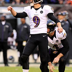 Baltimore Ravens placekicker Justin Tucker watches his 43-yard field goal against the Cleveland Browns in the fourth quarter of an NFL football game on Sunday, Nov. 4, 2012, in Cleveland. Tu …